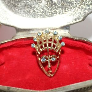 Vintage Swiss Blue Topaz Stoned Face Brooch